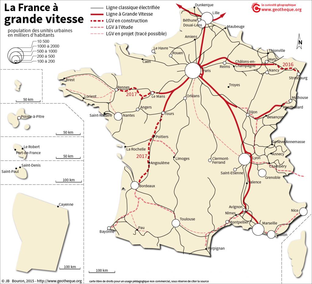 Carte des LGV TGV