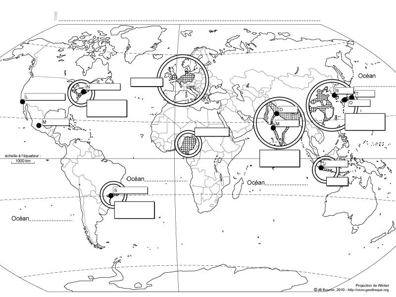 Carte des espaces densément peuplés dans le mondeLa Géothèque