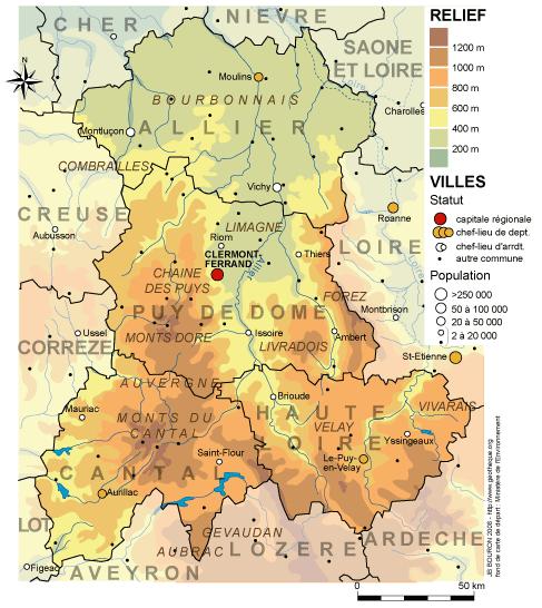 Cartes de la région AuvergneLa Géothèque