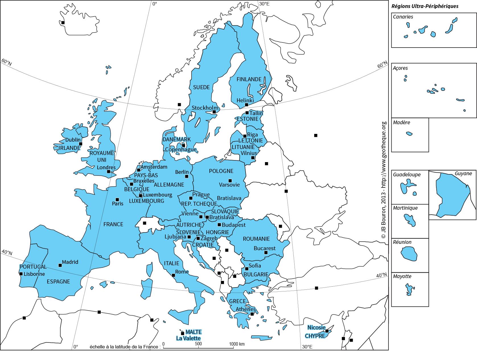 Cartes : l'Union Européenne à 28 membresLa Géothèque