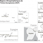 Régions Ultrapériphériques de l'Union Européenne : fond de carte muet en noir et blanc