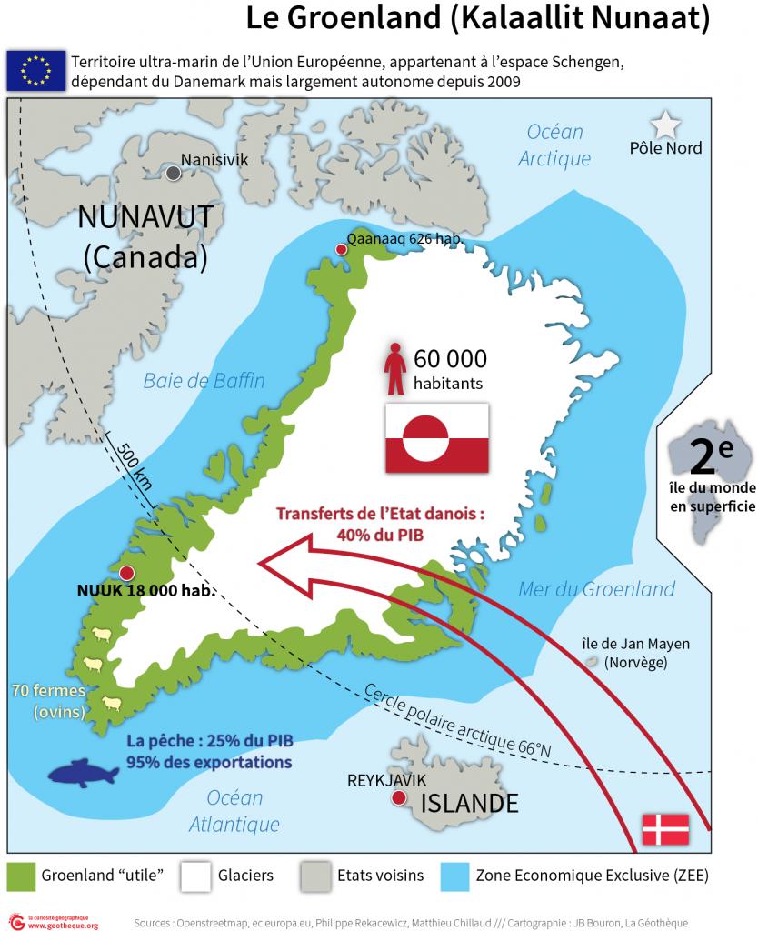 Le Groenland, territoires ultramarin de l'UE : carte de synthèse