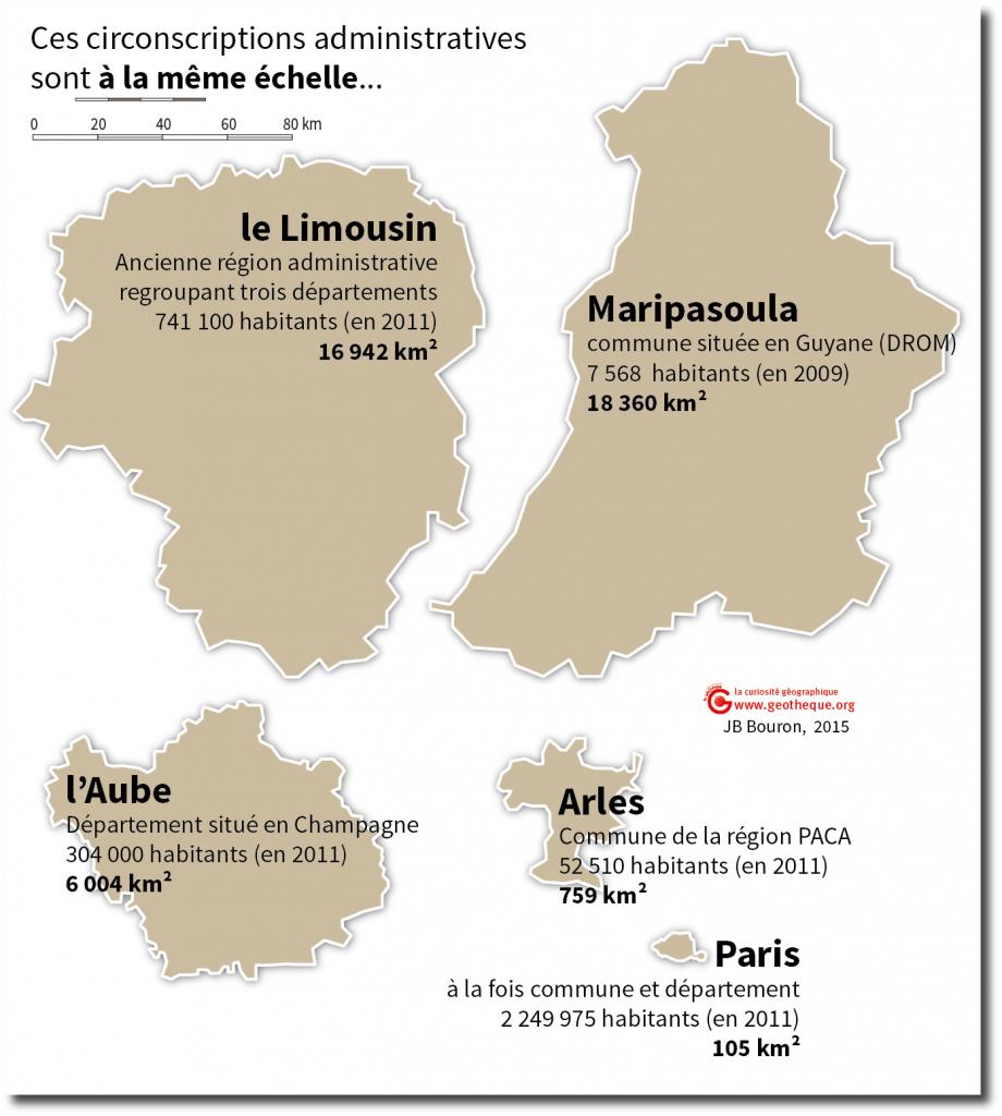 Comparaison des superficies de plusieurs circonscriptions administratives : Maripasoula, le Limousin, l'Aube, Arles et Paris.