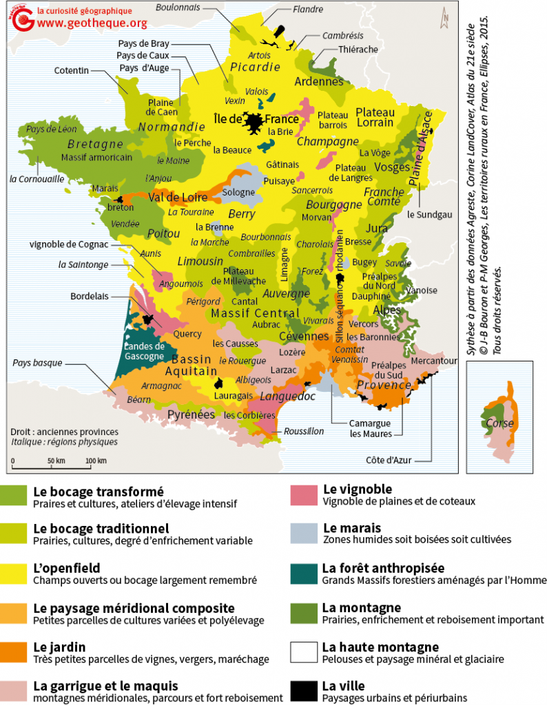 carte paysages ruraux en france