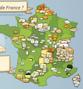"""Saisie d'écran du jeux """"france fromage"""" sur le site de """"jeux-geographiques"""""""