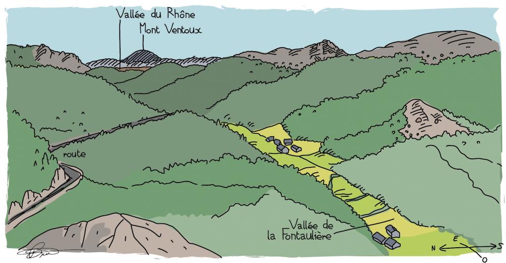 Croquis vallée de la Fontaulière et vue sur la vallée du Rhône