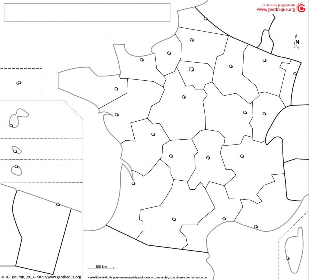 Fond de carte France avec DROM, régions, chefs-lieux