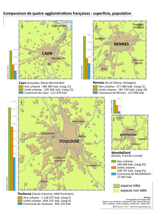 comparaison superficie agglomérations françaises