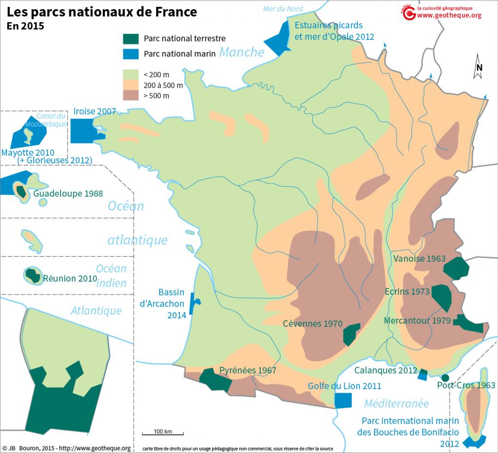 carte parcs naturels france