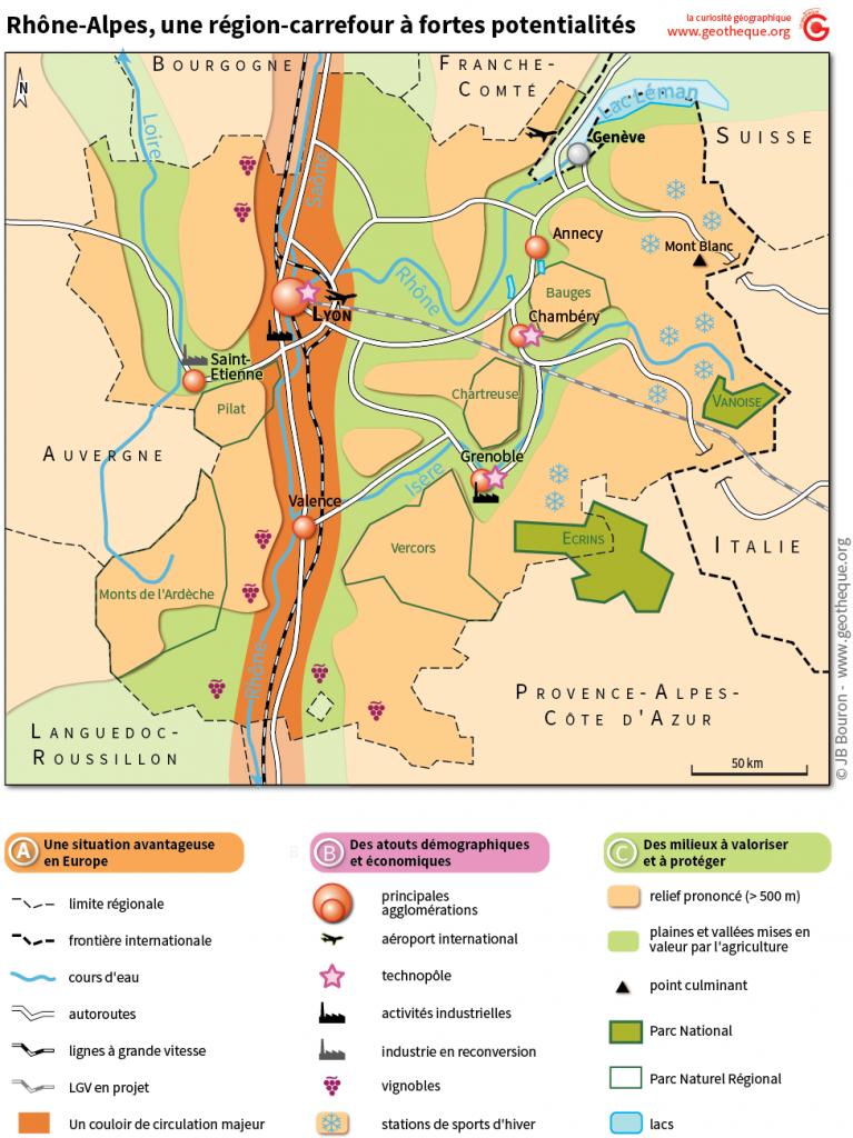 Croquis de synthèse de la région Rhône-Alpes