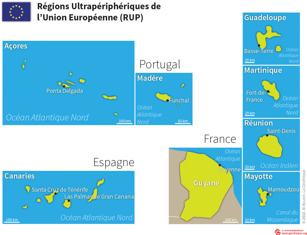 Régions Ultrapériphériques de l'Union Européenne : carte