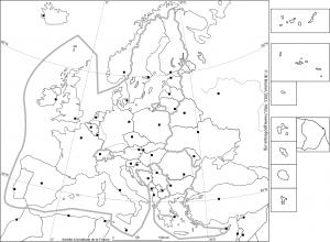 L'Union Européenne à 28 fond de carte en noir et blanc