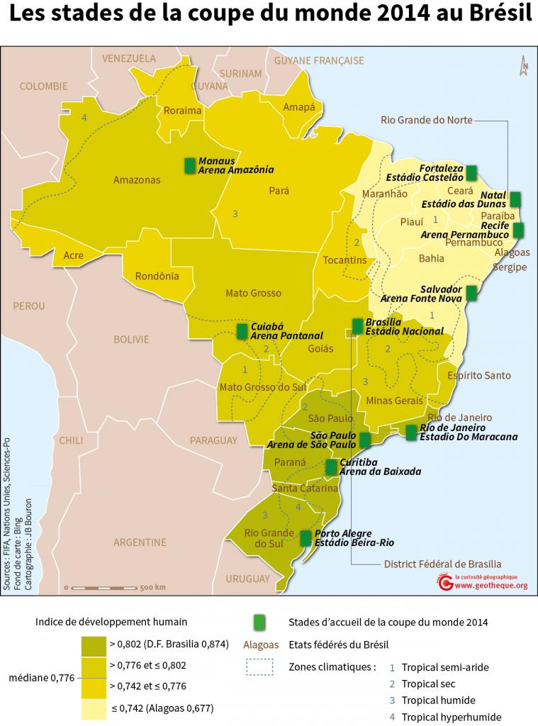 Carte des stades du Brésil - coupe du monde 2014