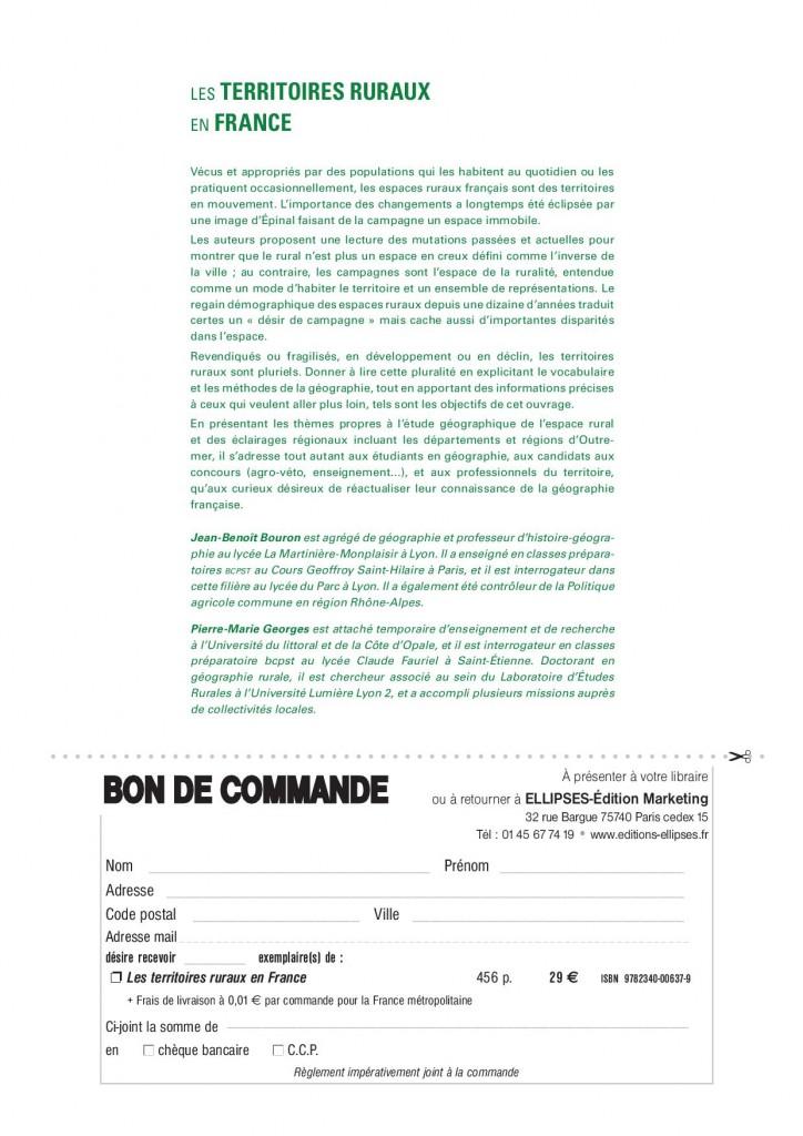 Les territoires ruraux en France - Bouron-Georges - Ellipses 20152