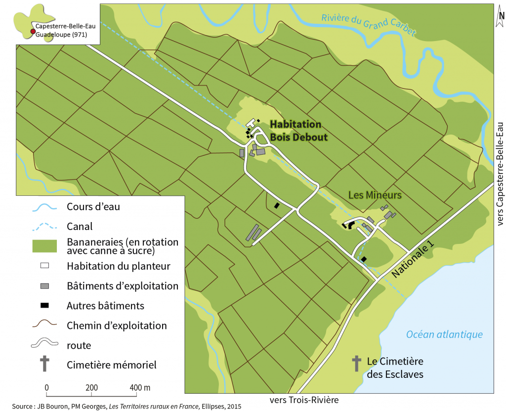 Plan de l'habitation Bois-Debout à Capesterre (Guadeloupe)