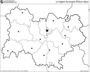 region auvergne rhone alpes carte muette